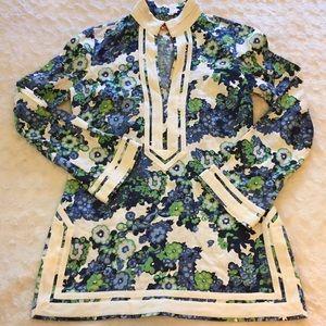 Tory Burch Floral Linen Tunic Sz 4